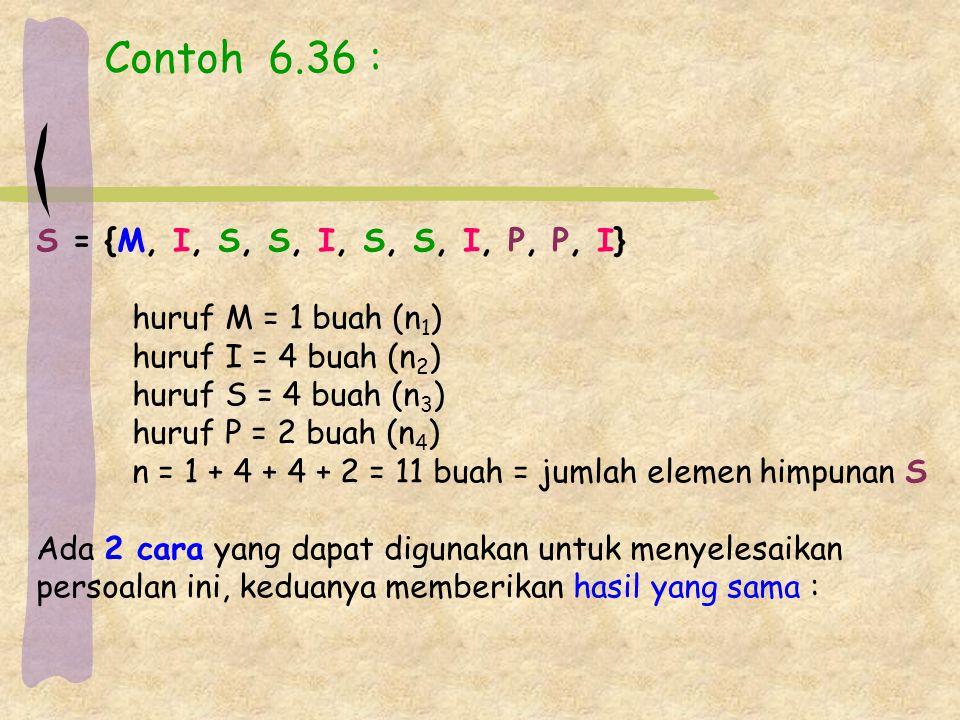 Contoh 6.36 : S = {M, I, S, S, I, S, S, I, P, P, I} huruf M = 1 buah (n 1 ) huruf I = 4 buah (n 2 ) huruf S = 4 buah (n 3 ) huruf P = 2 buah (n 4 ) n = 1 + 4 + 4 + 2 = 11 buah = jumlah elemen himpunan S Ada 2 cara yang dapat digunakan untuk menyelesaikan persoalan ini, keduanya memberikan hasil yang sama :