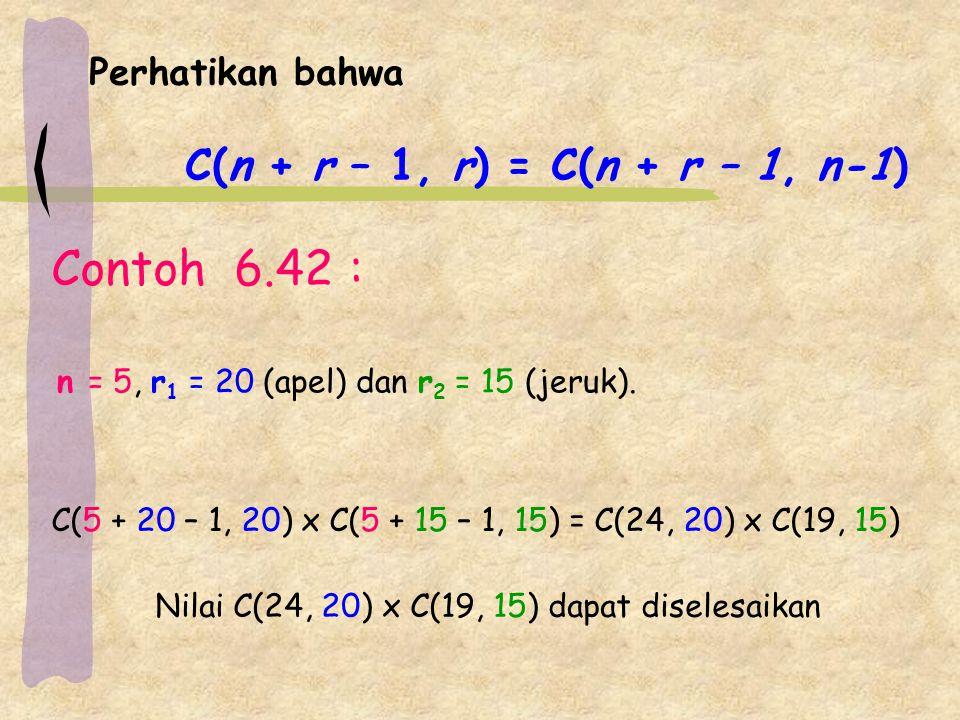 Perhatikan bahwa C(n + r – 1, r) = C(n + r – 1, n-1) Contoh 6.42 : C(5 + 20 – 1, 20) x C(5 + 15 – 1, 15) = C(24, 20) x C(19, 15) n = 5, r 1 = 20 (apel) dan r 2 = 15 (jeruk).