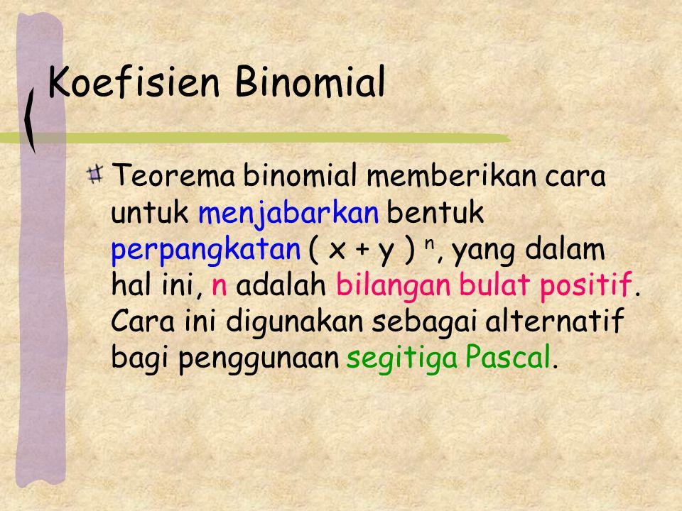 Koefisien Binomial Teorema binomial memberikan cara untuk menjabarkan bentuk perpangkatan ( x + y ) n, yang dalam hal ini, n adalah bilangan bulat positif.