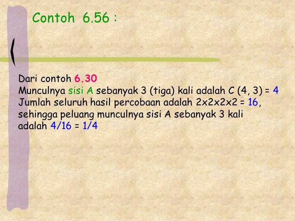 Contoh 6.56 : Dari contoh 6.30 Munculnya sisi A sebanyak 3 (tiga) kali adalah C (4, 3) = 4 Jumlah seluruh hasil percobaan adalah 2x2x2x2 = 16, sehingga peluang munculnya sisi A sebanyak 3 kali adalah 4/16 = 1/4