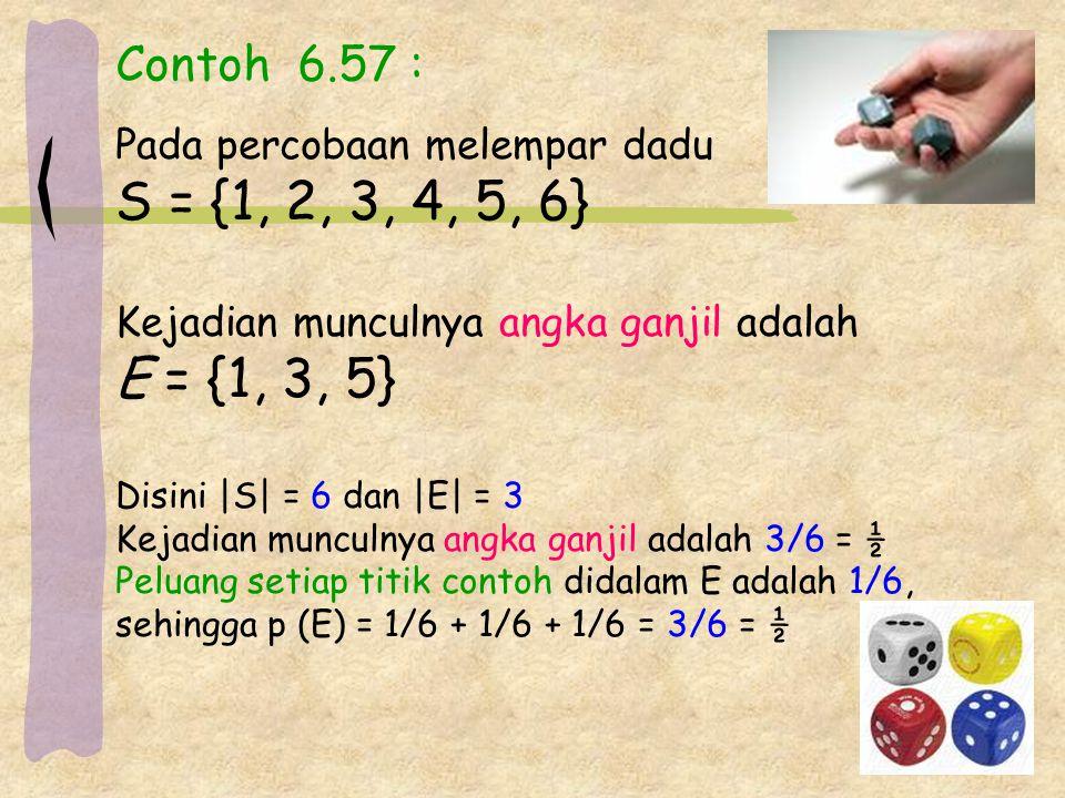 Contoh 6.57 : Pada percobaan melempar dadu S = {1, 2, 3, 4, 5, 6} Kejadian munculnya angka ganjil adalah E = {1, 3, 5} Disini |S| = 6 dan |E| = 3 Kejadian munculnya angka ganjil adalah 3/6 = ½ Peluang setiap titik contoh didalam E adalah 1/6, sehingga p (E) = 1/6 + 1/6 + 1/6 = 3/6 = ½