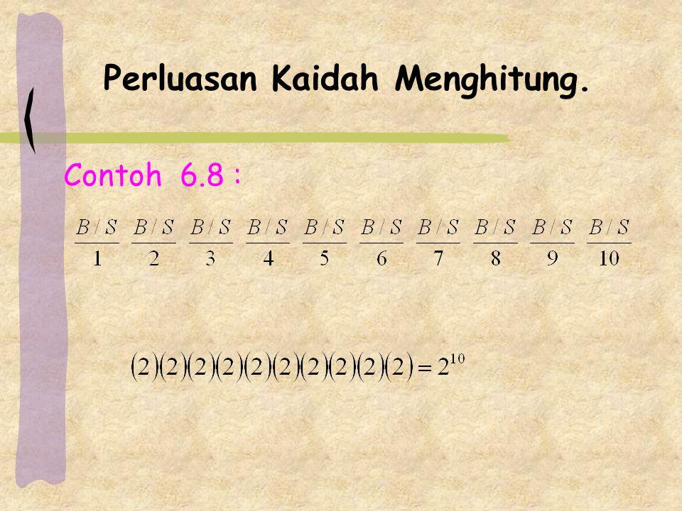 Contoh 6.10 : (a)Jumlah cara memilih 3 buah buku, masing-masing dari tiap bahasa adalah (6)(8)(10) = 480 cara.