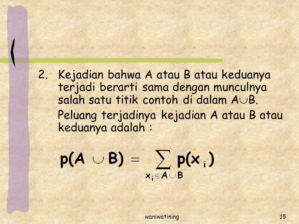 waniwatining15 2.Kejadian bahwa A atau B atau keduanya terjadi berarti sama dengan munculnya salah satu titik contoh di dalam A  B. Peluang terjadiny