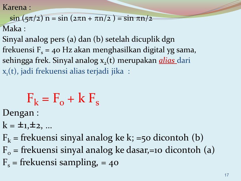 17 Karena : sin (5  /2) n = sin (2  n +  n/2 ) = sin  n/2 Maka : Sinyal analog pers (a) dan (b) setelah dicuplik dgn frekuensi F s = 40 Hz akan me