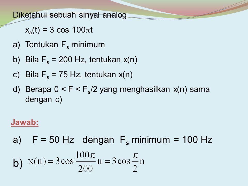 Diketahui sebuah sinyal analog x a (t) = 3 cos 100  t a)Tentukan F s minimum b)Bila F s = 200 Hz, tentukan x(n) c)Bila F s = 75 Hz, tentukan x(n) d)B