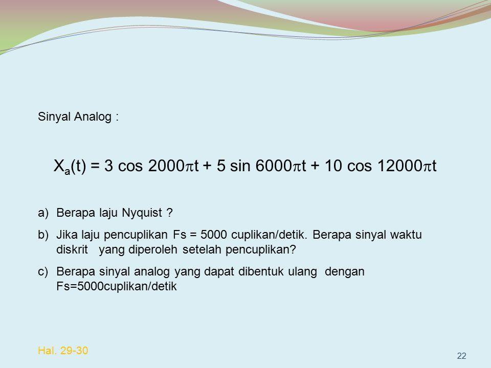 Sinyal Analog : X a (t) = 3 cos 2000  t + 5 sin 6000  t + 10 cos 12000  t a)Berapa laju Nyquist ? b)Jika laju pencuplikan Fs = 5000 cuplikan/detik.