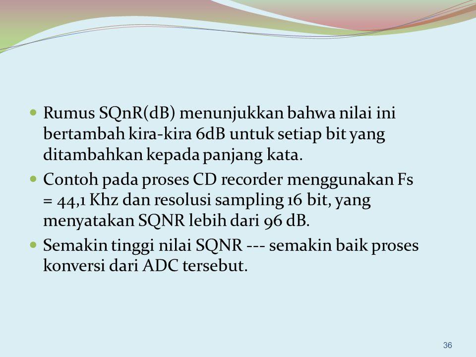 Rumus SQnR(dB) menunjukkan bahwa nilai ini bertambah kira-kira 6dB untuk setiap bit yang ditambahkan kepada panjang kata. Contoh pada proses CD record