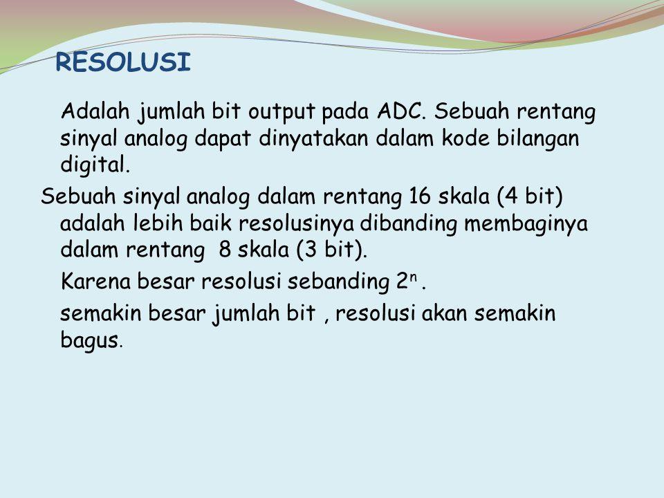 Adalah jumlah bit output pada ADC. Sebuah rentang sinyal analog dapat dinyatakan dalam kode bilangan digital. Sebuah sinyal analog dalam rentang 16 sk