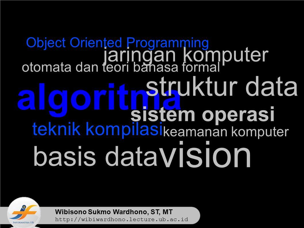 Wibisono Sukmo Wardhono, ST, MT http://wibiwardhono.lecture.ub.ac.id teknik kompilasi algoritma struktur data basis data otomata dan teori bahasa formal jaringan komputer keamanan komputer sistem operasi vision Object Oriented Programming