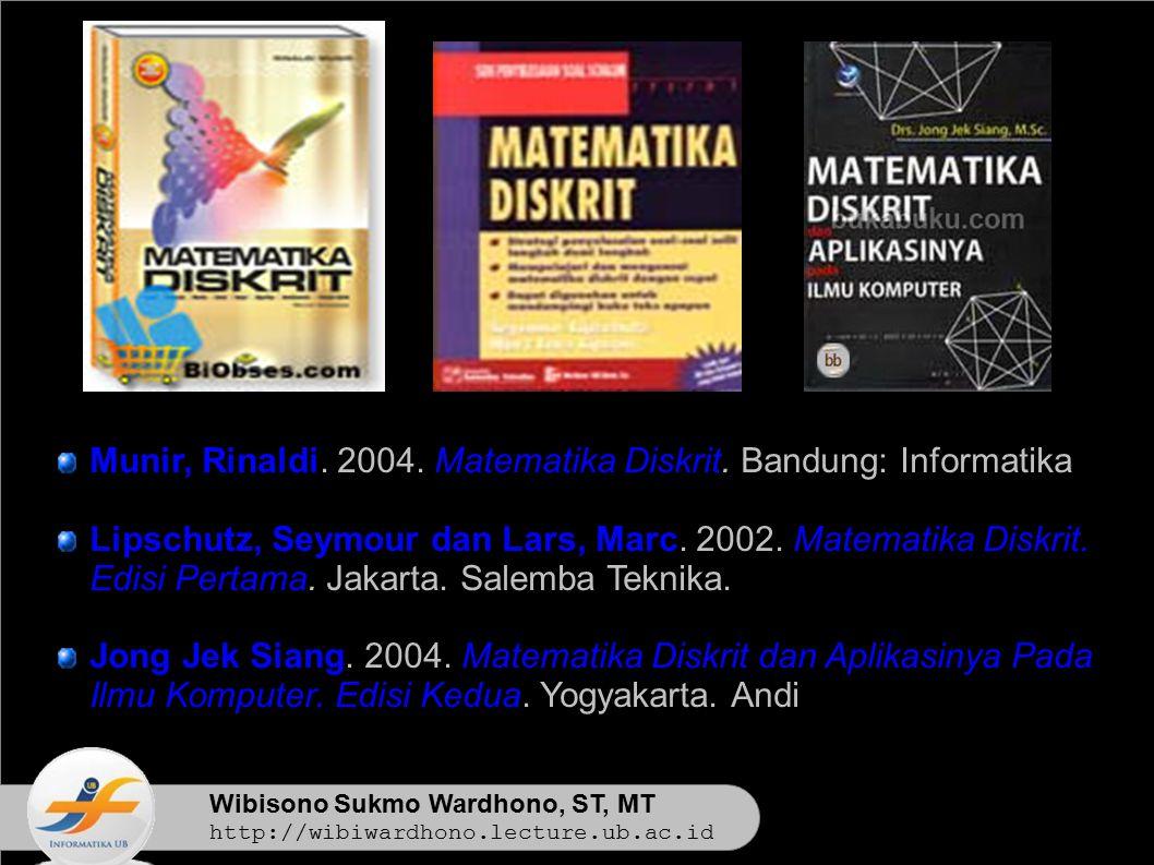 Wibisono Sukmo Wardhono, ST, MT http://wibiwardhono.lecture.ub.ac.id Munir, Rinaldi. 2004. Matematika Diskrit. Bandung: Informatika Lipschutz, Seymour