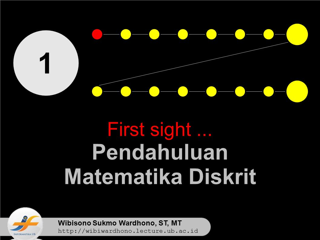 Wibisono Sukmo Wardhono, ST, MT http://wibiwardhono.lecture.ub.ac.id 1 First sight... Pendahuluan Matematika Diskrit