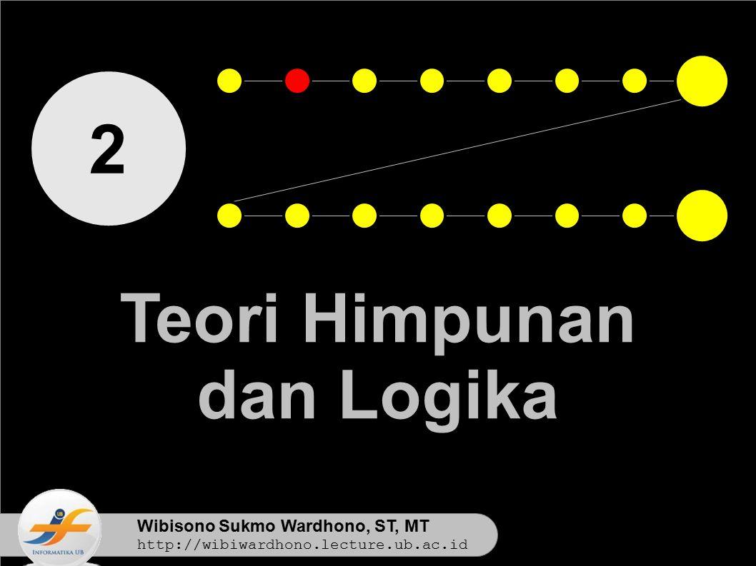 Wibisono Sukmo Wardhono, ST, MT http://wibiwardhono.lecture.ub.ac.id 2 Teori Himpunan dan Logika