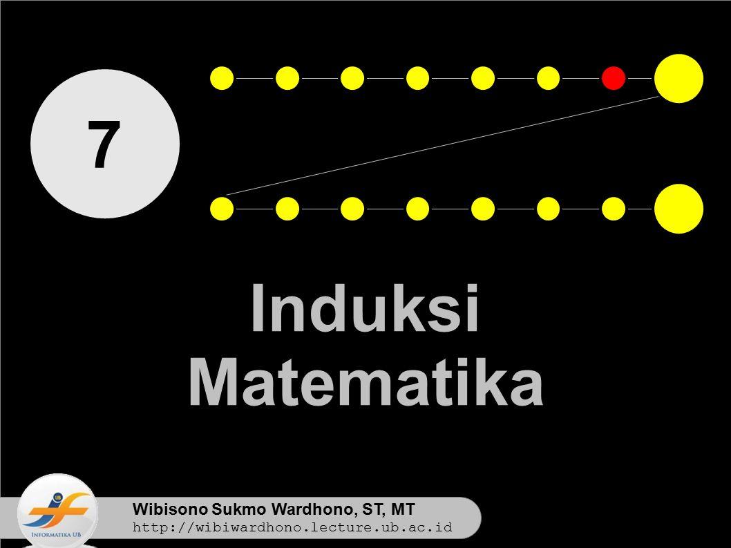Wibisono Sukmo Wardhono, ST, MT http://wibiwardhono.lecture.ub.ac.id 7 Induksi Matematika