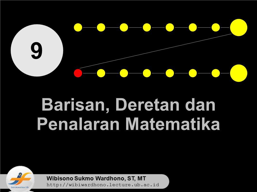 Wibisono Sukmo Wardhono, ST, MT http://wibiwardhono.lecture.ub.ac.id 9 Barisan, Deretan dan Penalaran Matematika