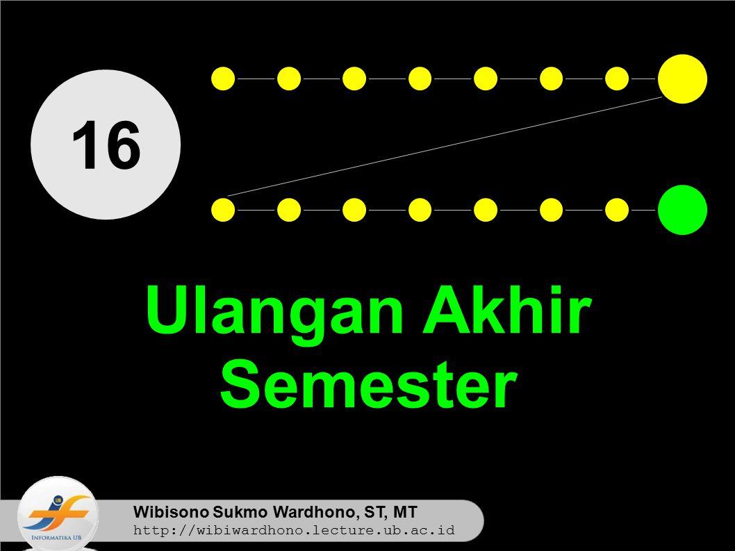 Wibisono Sukmo Wardhono, ST, MT http://wibiwardhono.lecture.ub.ac.id 16 Ulangan Akhir Semester