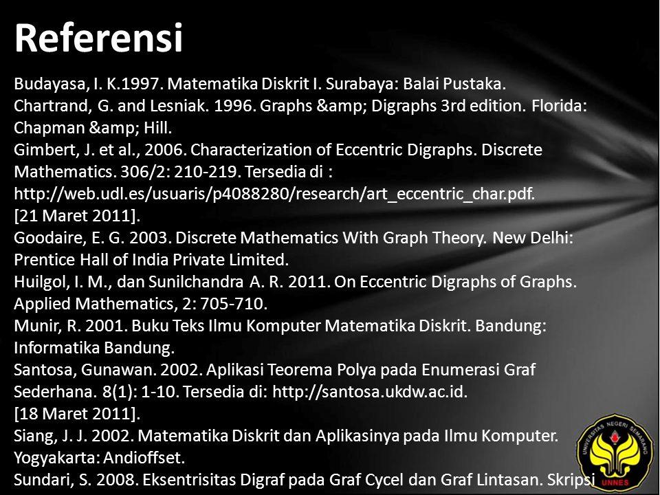 Referensi Budayasa, I. K.1997. Matematika Diskrit I.