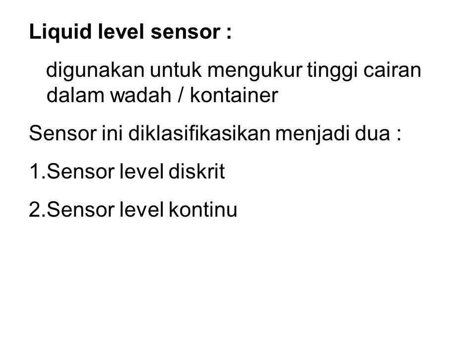 Sensor Level Diskrit Digunakan untuk mengetahui saat dimana cairan mencapai level tertentu.