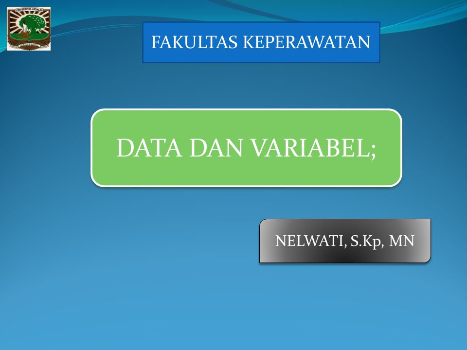FAKULTAS KEPERAWATAN DATA DAN VARIABEL; NELWATI, S.Kp, MN