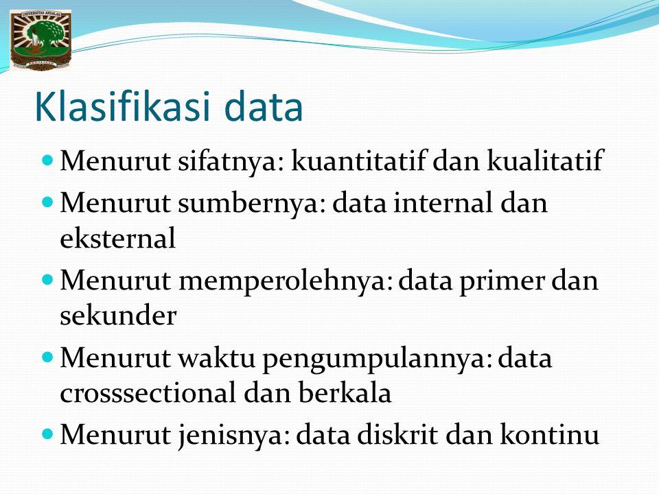Klasifikasi data Menurut sifatnya: kuantitatif dan kualitatif Menurut sumbernya: data internal dan eksternal Menurut memperolehnya: data primer dan sekunder Menurut waktu pengumpulannya: data crosssectional dan berkala Menurut jenisnya: data diskrit dan kontinu