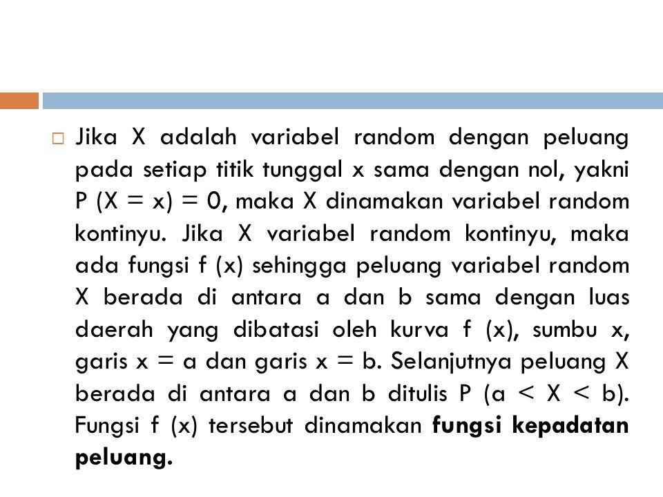  Jika X adalah variabel random dengan peluang pada setiap titik tunggal x sama dengan nol, yakni P (X = x) = 0, maka X dinamakan variabel random kont