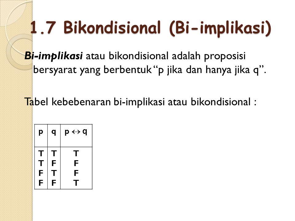 """1.7 Bikondisional (Bi-implikasi) Bi-implikasi atau bikondisional adalah proposisi bersyarat yang berbentuk """"p jika dan hanya jika q"""". Tabel kebebenara"""