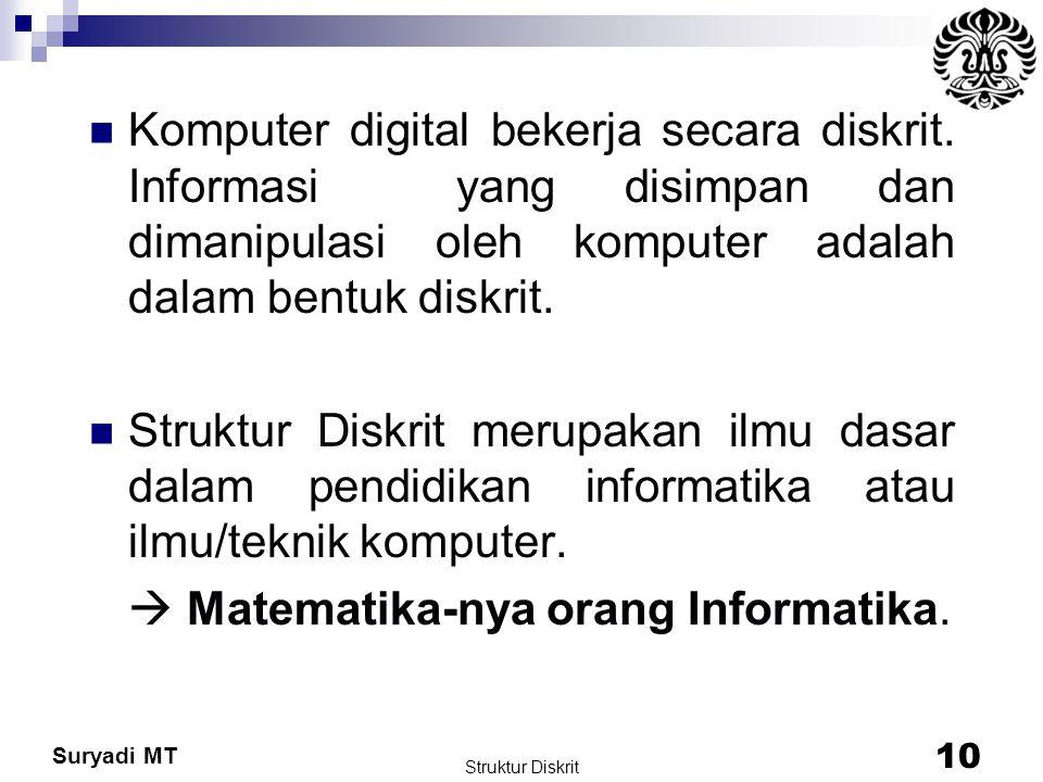Suryadi MT Struktur Diskrit 10 Komputer digital bekerja secara diskrit. Informasi yang disimpan dan dimanipulasi oleh komputer adalah dalam bentuk dis