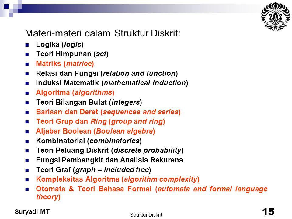 Suryadi MT Struktur Diskrit 15 Materi-materi dalam Struktur Diskrit: Logika (logic) Teori Himpunan (set) Matriks (matrice) Relasi dan Fungsi (relation