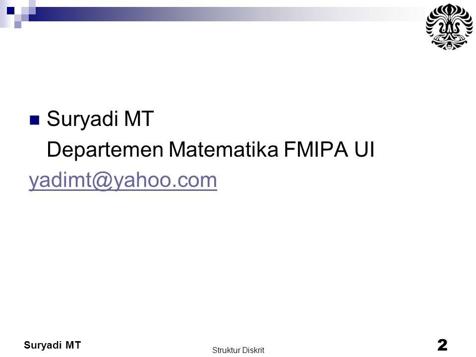 Suryadi MT Departemen Matematika FMIPA UI yadimt@yahoo.com Struktur Diskrit 2