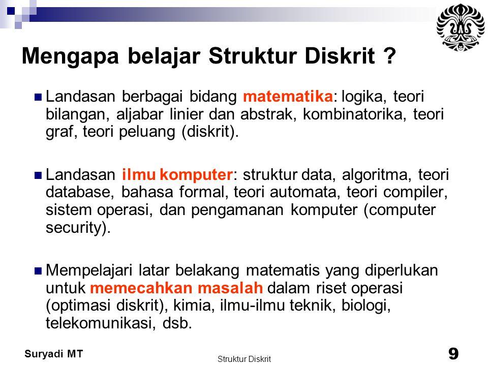 Suryadi MT Struktur Diskrit 9 Mengapa belajar Struktur Diskrit ? Landasan berbagai bidang matematika: logika, teori bilangan, aljabar linier dan abstr