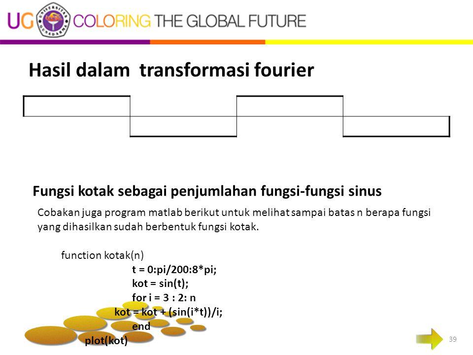 Hasil dalam transformasi fourier 39 Cobakan juga program matlab berikut untuk melihat sampai batas n berapa fungsi yang dihasilkan sudah berbentuk fun