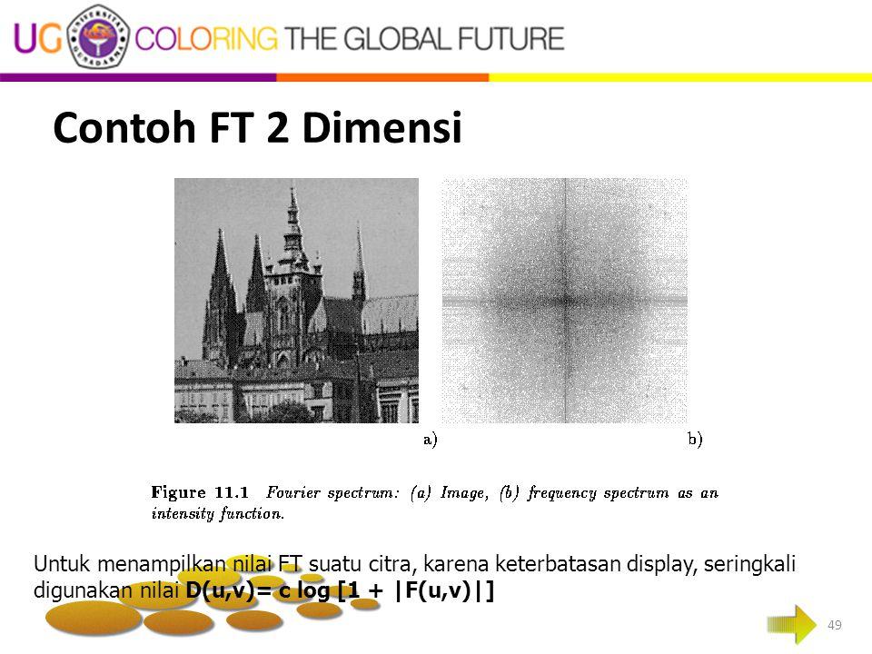 Contoh FT 2 Dimensi 49 Untuk menampilkan nilai FT suatu citra, karena keterbatasan display, seringkali digunakan nilai D(u,v)= c log [1 + |F(u,v)|]