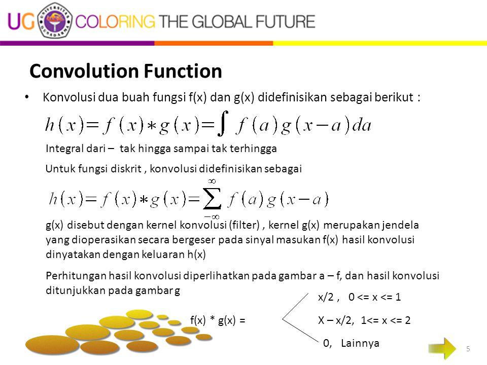 Convolution Function 5 Konvolusi dua buah fungsi f(x) dan g(x) didefinisikan sebagai berikut : Integral dari – tak hingga sampai tak terhingga Untuk f