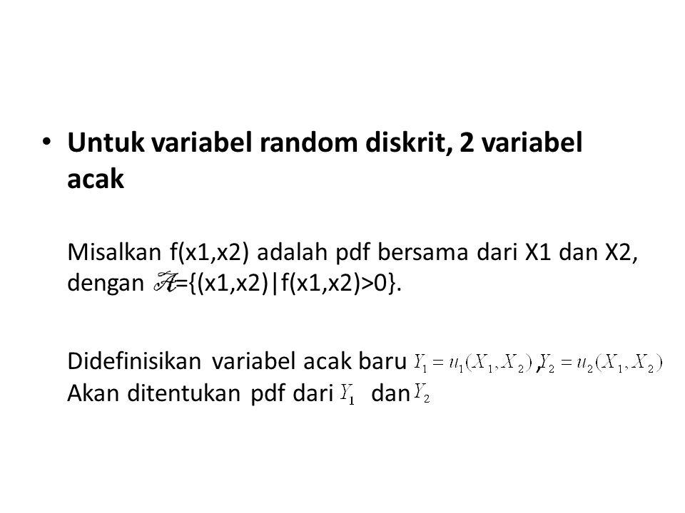Untuk variabel random diskrit, 2 variabel acak Misalkan f(x1,x2) adalah pdf bersama dari X1 dan X2, dengan A ={(x1,x2)|f(x1,x2)>0}. Didefinisikan vari