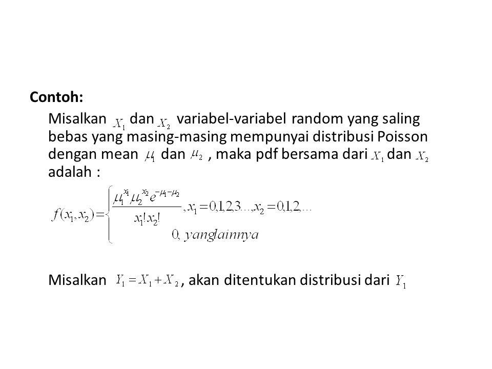 Contoh: Misalkan dan variabel-variabel random yang saling bebas yang masing-masing mempunyai distribusi Poisson dengan mean dan, maka pdf bersama dari