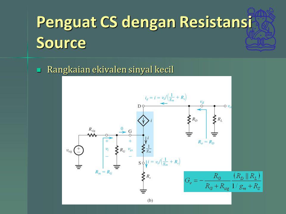 Penguat CS dengan Resistansi Source Rangkaian ekivalen sinyal kecil Rangkaian ekivalen sinyal kecil