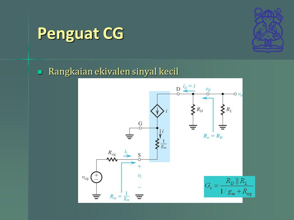 Penguat CG Rangkaian ekivalen sinyal kecil Rangkaian ekivalen sinyal kecil
