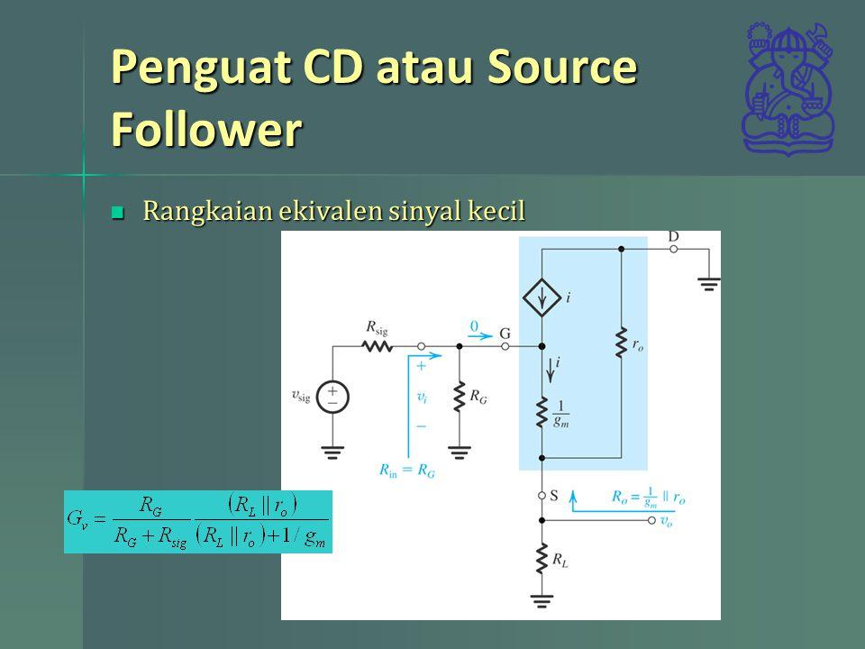 Penguat CD atau Source Follower Rangkaian ekivalen sinyal kecil Rangkaian ekivalen sinyal kecil