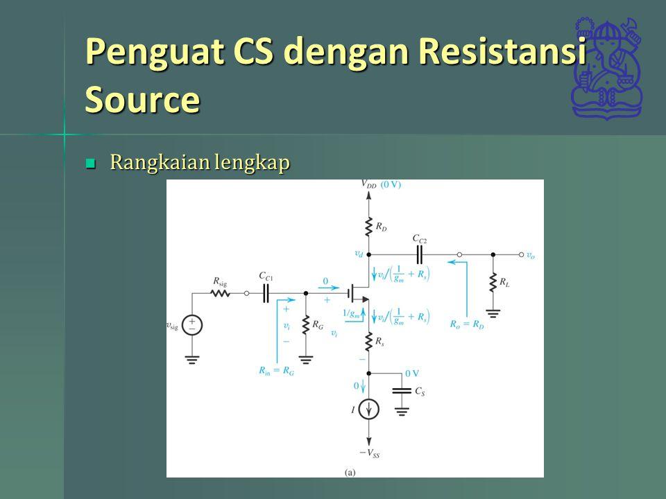 Penguat CS dengan Resistansi Source Rangkaian lengkap Rangkaian lengkap