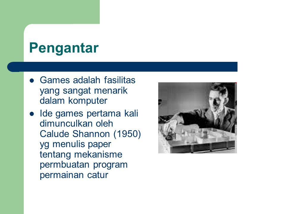 Pengantar Games adalah fasilitas yang sangat menarik dalam komputer Ide games pertama kali dimunculkan oleh Calude Shannon (1950) yg menulis paper tentang mekanisme permbuatan program permainan catur