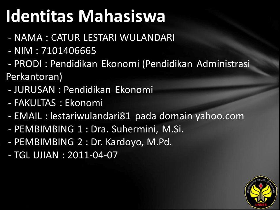 Identitas Mahasiswa - NAMA : CATUR LESTARI WULANDARI - NIM : 7101406665 - PRODI : Pendidikan Ekonomi (Pendidikan Administrasi Perkantoran) - JURUSAN :