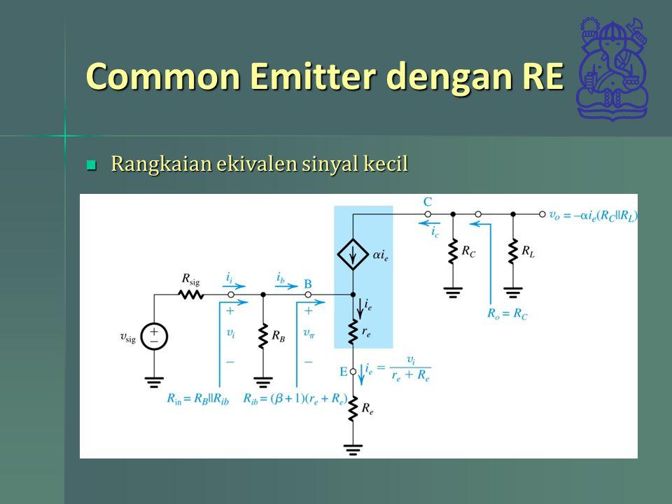 Common Emitter dengan RE Rangkaian ekivalen sinyal kecil Rangkaian ekivalen sinyal kecil