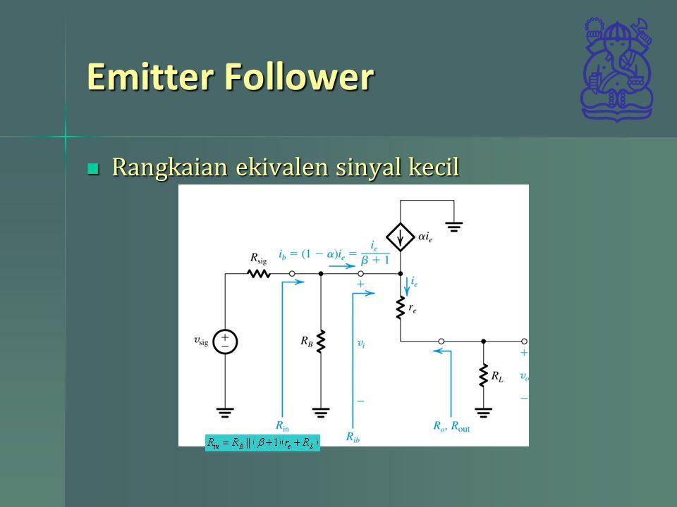 Emitter Follower Rangkaian ekivalen sinyal kecil Rangkaian ekivalen sinyal kecil