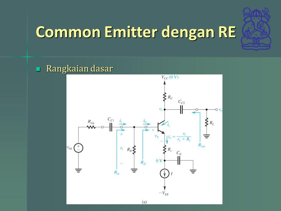 Common Emitter dengan RE Rangkaian dasar Rangkaian dasar