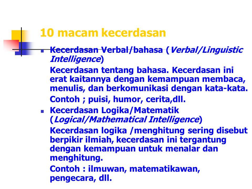 10 macam kecerdasan Kecerdasan Verbal/bahasa (Verbal/Linguistic Intelligence) Kecerdasan tentang bahasa. Kecerdasan ini erat kaitannya dengan kemampua