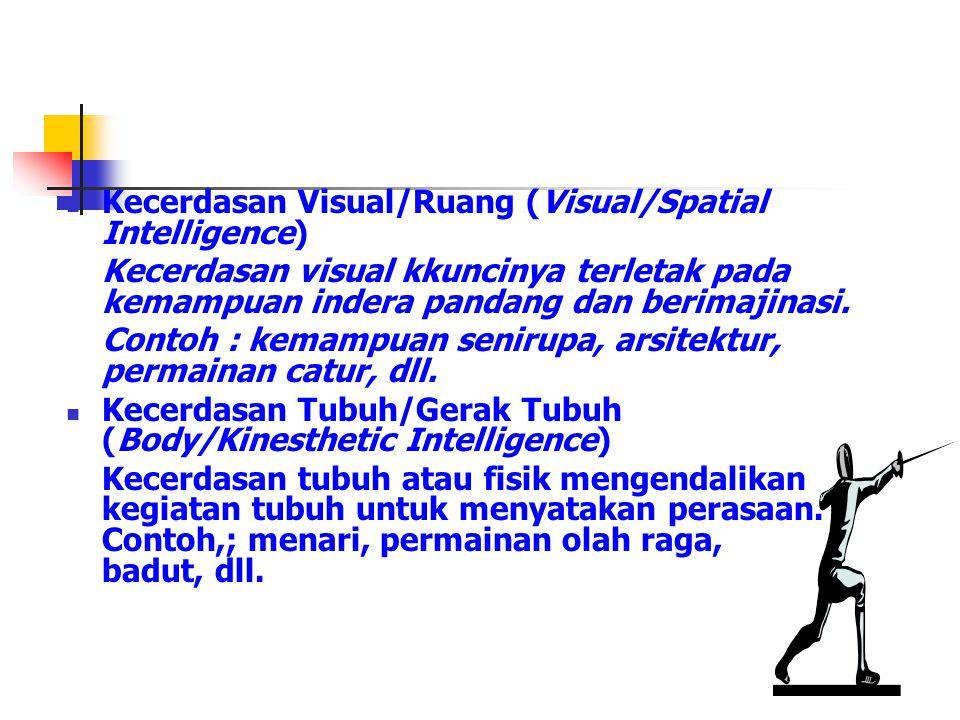 Kecerdasan Visual/Ruang (Visual/Spatial Intelligence) Kecerdasan visual kkuncinya terletak pada kemampuan indera pandang dan berimajinasi. Contoh : ke