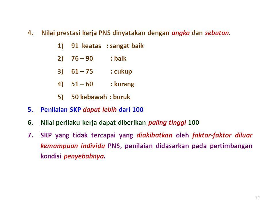 14 4.Nilai prestasi kerja PNS dinyatakan dengan angka dan sebutan.