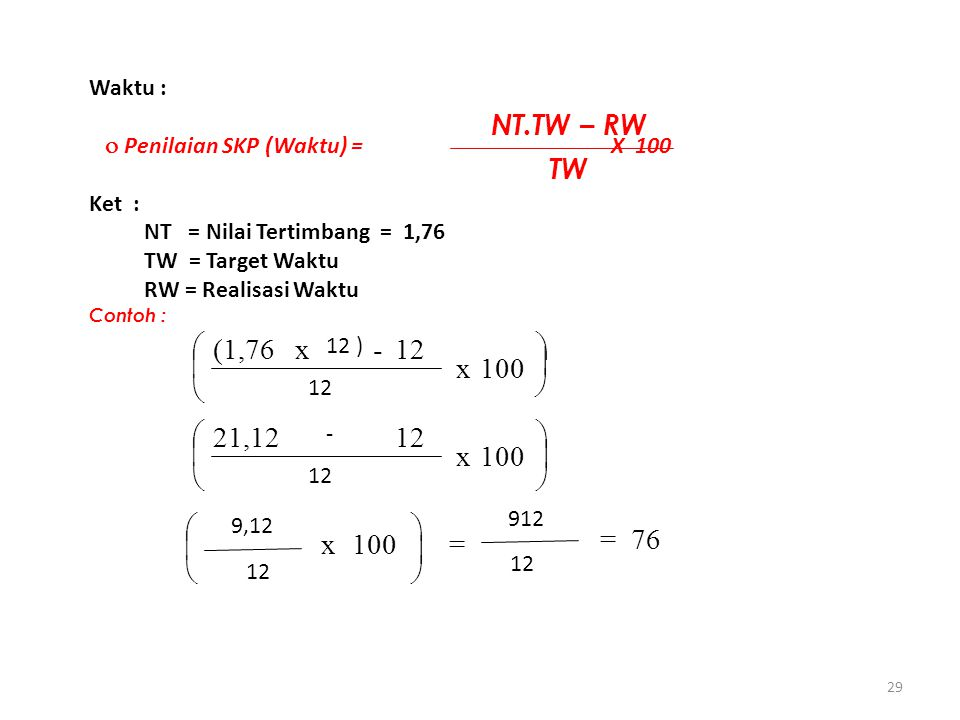29 Waktu :  Penilaian SKP (Waktu) = X 100 Ket : NT = Nilai Tertimbang = 1,76 TW = Target Waktu RW = Realisasi Waktu Contoh : NT.TW – RW TW              100 x 12 9,12 = 12 912 = 76 x 12 - 21,12   100   x 12 - 12 ) x(1,76 