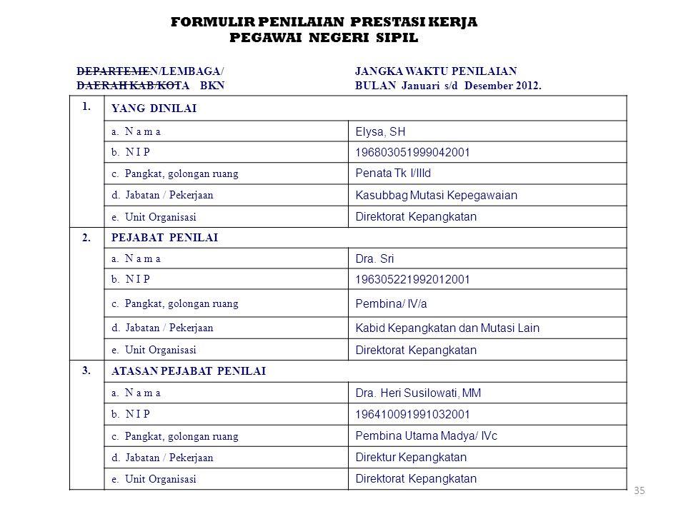 35 FORMULIR PENILAIAN PRESTASI KERJA PEGAWAI NEGERI SIPIL DEPARTEMEN/LEMBAGA/ DAERAH KAB/KOTA BKN JANGKA WAKTU PENILAIAN BULAN Januari s/d Desember 2012.