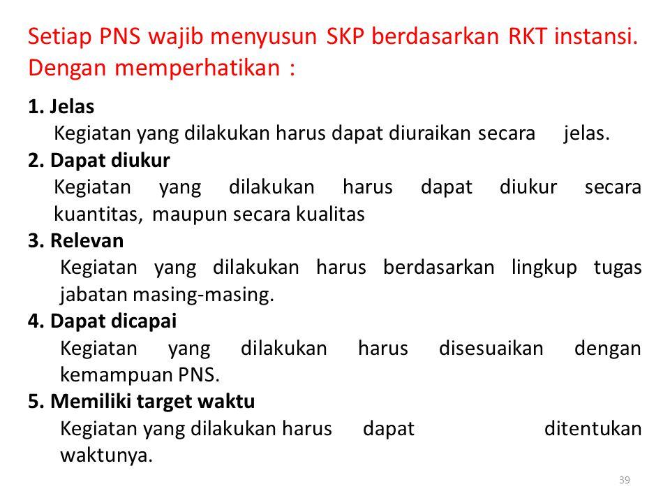 39 Setiap PNS wajib menyusun SKP berdasarkan RKT instansi.