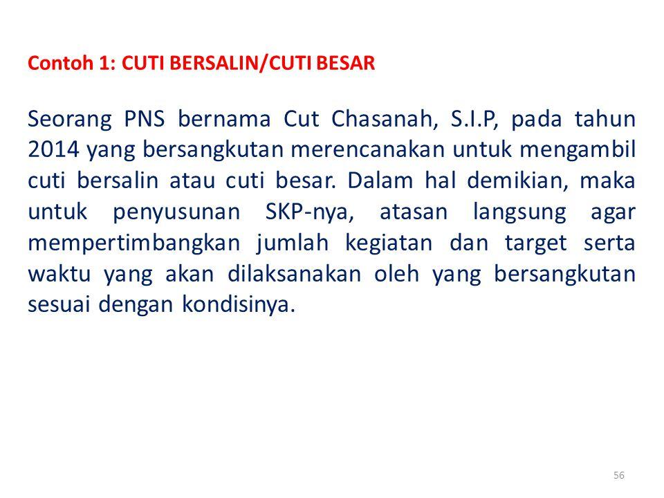56 Contoh 1: CUTI BERSALIN/CUTI BESAR Seorang PNS bernama Cut Chasanah, S.I.P, pada tahun 2014 yang bersangkutan merencanakan untuk mengambil cuti bersalin atau cuti besar.